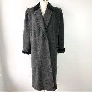 Leslei Fay Petite Gray Wool Blend Maxi Pea Coat